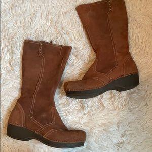 Dansko suede clog tall boots